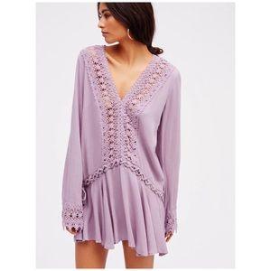 Free People • lace stitching v-neck mini dress